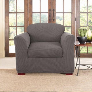 Sure Fit Stretch Two-tone Honeycomb 2-piece Separate Seat Chair Slipcover