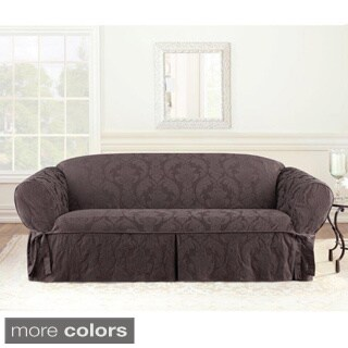 Sure Fit Espresso Matelasse Damask Sofa Slipcover
