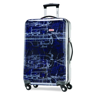 IZOD Enterprise Nautical Navy 28-inch Large Hardside Expandable Spinner Upright Suitcase