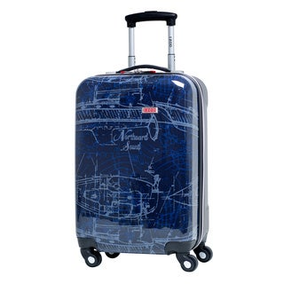 IZOD Enterprise Nautical Navy 20-Inch Expandable Spinner Carry-on Upright Suitcase