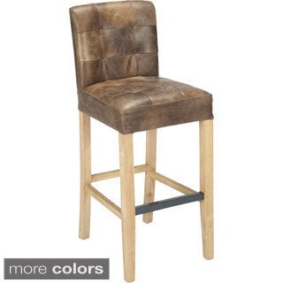 Saxo Brown Leather Upholstered Bar Stool