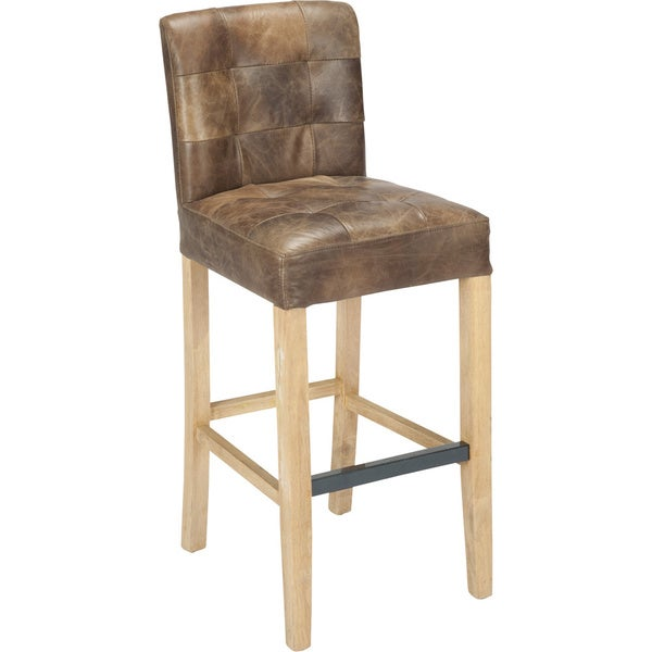 Aurelle Home Saxo Brown Leather Upholstered Bar Stool