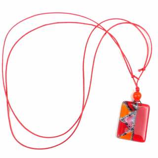 Red Zig-Zag Fused Glass Pendant Necklace (Chile)