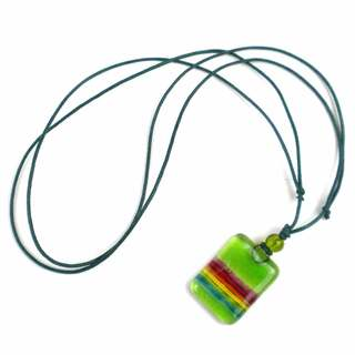 Lime Green Rainbow Fused Glass Pendant Necklace (Chile)