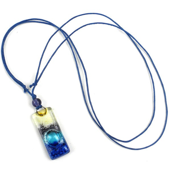 Sand and Sea Fused Glass Rectangle Pendant Necklace (Chile)