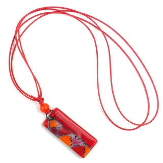 Red Zig-Zag Fused Glass Rectangle Pendant Necklace (Chile)