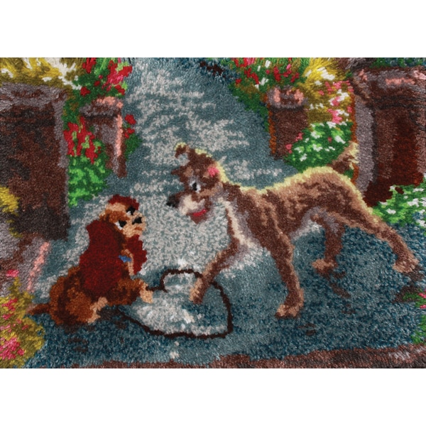 """Moose Rug Hooking Kit: Latch Hook Kit 27""""X20""""-Lady And The Tramp"""