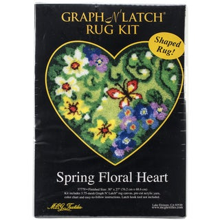 """Latch Hook Kit 30""""X27"""" Shaped-Spring Floral Heart"""