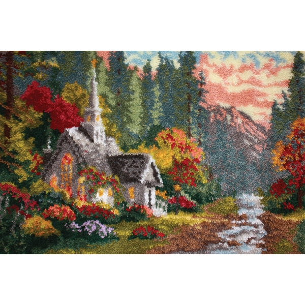 "Latch Hook Kit 40""X27""-Forest Chapel"