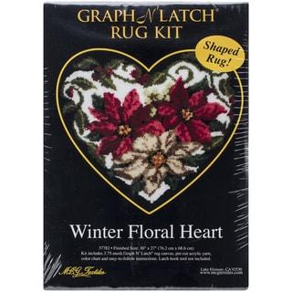 "Latch Hook Kit 30""X27"" Shaped-Winter Floral Heart"