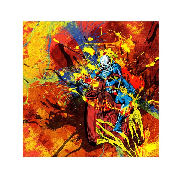 iCanvas Marvel Comics Ghost Rider on Bike Painted Grunge Canvas Print Wall Art