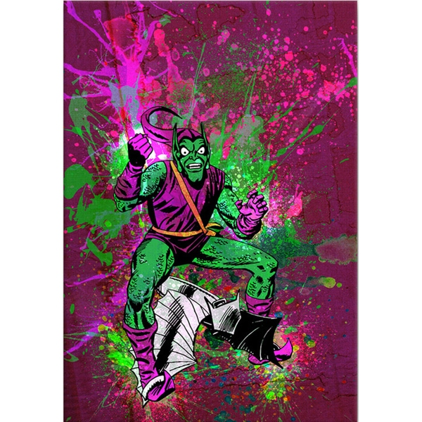 iCanvas Marvel Comics Green Goblin Fist Out Painted Grunge Canvas Print Wall Art