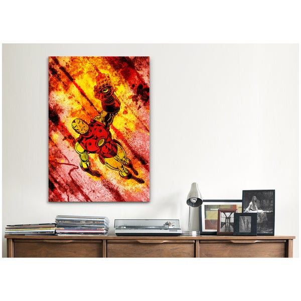 iCanvas Marvel Comics Iron Man Soaring Painted Grunge Canvas Print Wall Art