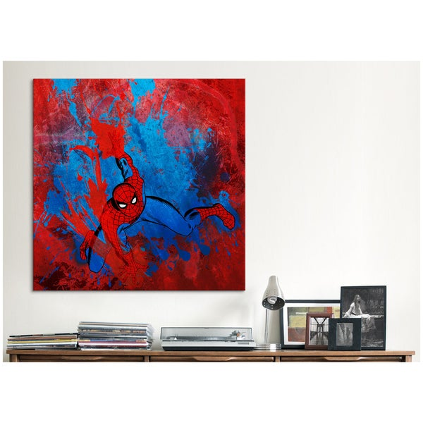 iCanvas Marvel Comics Spiderman Swinging Painted Grunge Canvas Print Wall Art 14067773