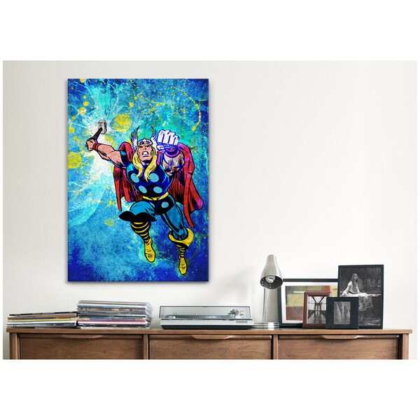 iCanvas Marvel Comics Thor in Air Painted Grunge Canvas Print Wall Art