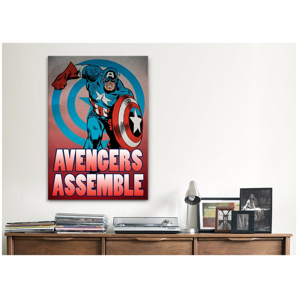 iCanvas Marvel Comic Book Captain America Tagline: Avengers Assemble Canvas Print Wall Art