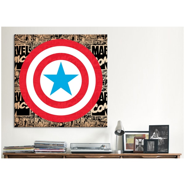 iCanvas Marvel Comic Book Marvel Captain America Logo Canvas Print Wall Art