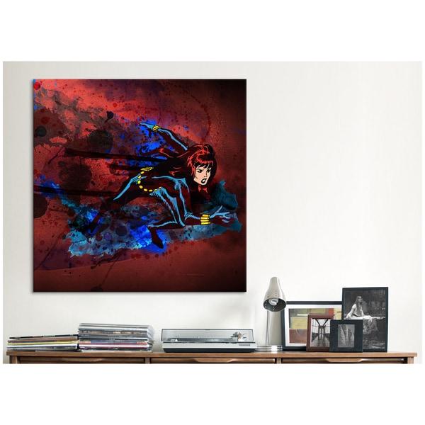 iCanvas Marvel Comics Black Widow Running Painted Grunge Canvas Print Wall Art