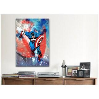 iCanvas Marvel Comics Captain America Running Painted Grunge Canvas Print Wall Art