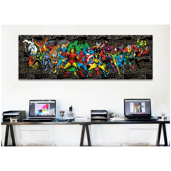 iCanvas Marvel Comic Book Character Lineup Comic Logo BG Canvas Print Wall Art