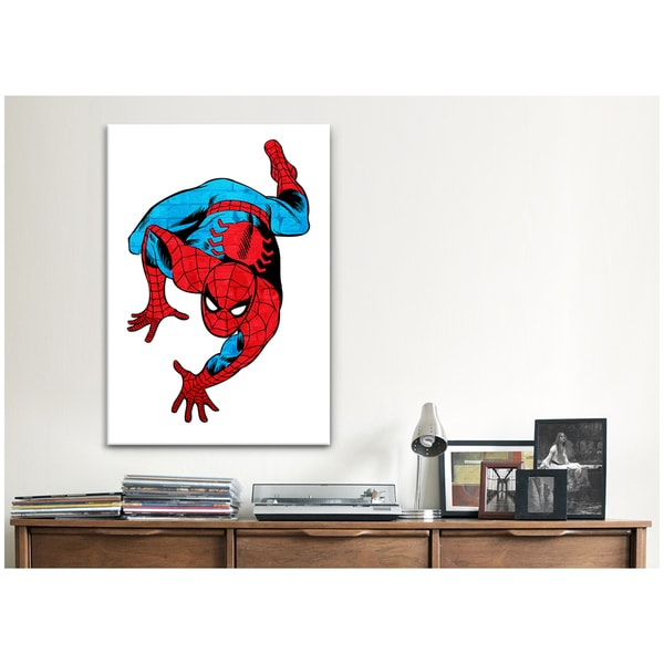 iCanvas Marvel Comics Book Spiderman on White BG Texture Canvas Print Wall Art