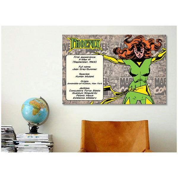 iCanvas Marvel Comic Book Phoenix Character Bio Canvas Print Wall Art