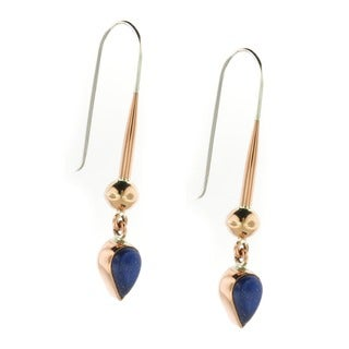 Handcrafted Copper and Lapis Gemstone Dangle Earrings (Mexico)