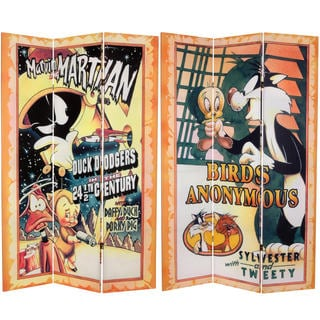 Double Sided Tweety and Marvin the Martian Canvas Room Divider