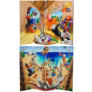 Double Sided Bugs Bunny and Friends Canvas Room Divider