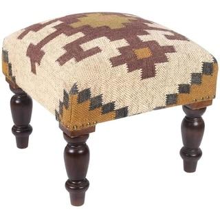 Herat Oriental Handmade Indo Kilim Upholstered Footstool (India)