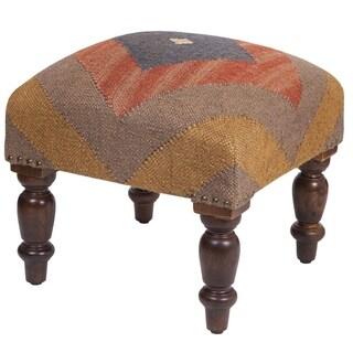 "Handmade Indo Kilim Ottoman Footstool (India) - 16"" x 16"" x 16"""