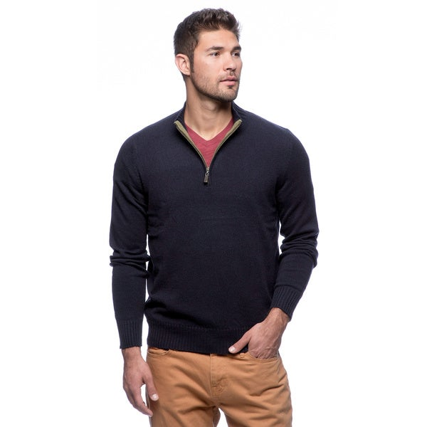 Cullen Men's Tipped 1/4-zip Mock-neck Cashmere Sweater
