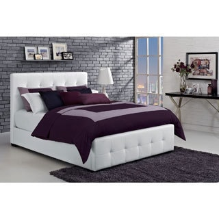 DHP Florence White Upholstered Queen Bed