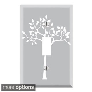 Decorative Wall Plate Cover - White Tree in Grey Backgound