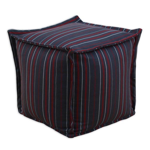 Somette Multi-stripe Square Charcoal Hassock