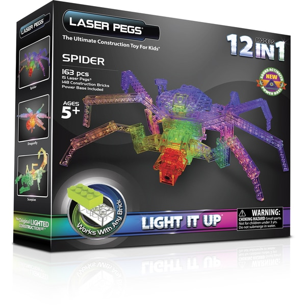 Laser Pegs 12-in-1 Spider Lighted Construction Toy