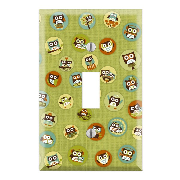 Green Owl Pattern Decorative Wall Plate Cover