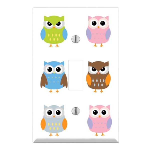 Cute Owl Pattern Decorative Wall Plate Cover 14071275