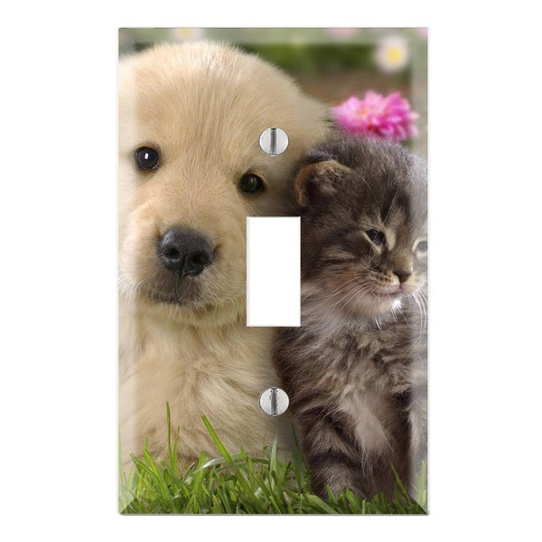 Cute Puppy Kitty Decorative Wall Plate Cover