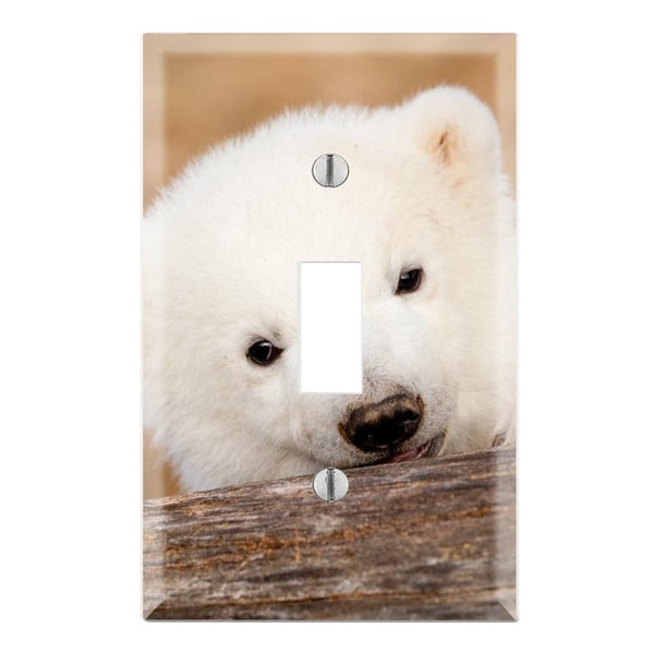 Cute Polar Bear Cub Decorative Wall Plate Cover
