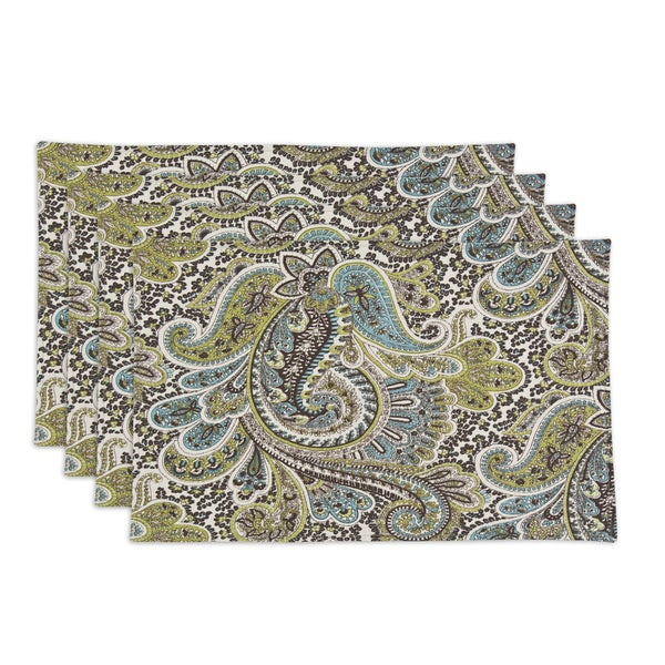 Somette Paisley Chocolate 12.5x19 Placemats (Set of 4)