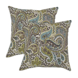 Somette Paisley Chocolate Self Backed 17-inch Throw Pillows (Set of 2)