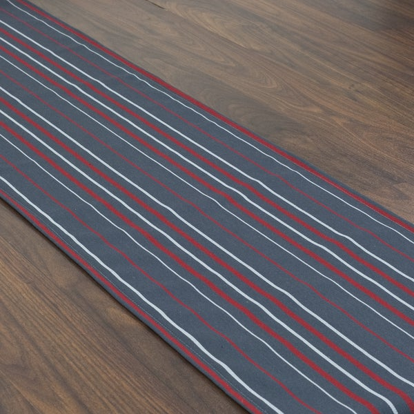 Somette Multi Stripe Charcoal Topstitched Table Runner