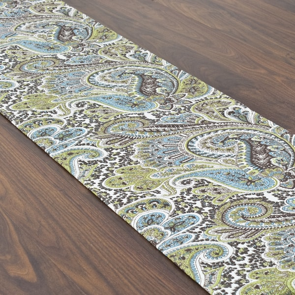Somette Paisley Chocolate Topstitched Table Runner
