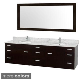 Wyndham Collection Encore Espresso 78-inch Double Bathroom Vanity White Porcelain Undermount Square Sinks