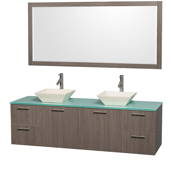 Wyndham Collection Amare Grey Oak 72-inch Double Bathroom Vanity and Green Glass Top