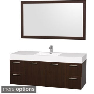 Wyndham Collection Amare White Acylic Resin 60-inch Single Bathroom Vanity Acrylic Resin and 58-inch Mirror