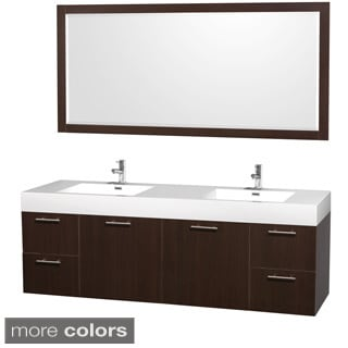 Wyndham Collection Amare Acrylic-Resin Top72-inch Double Bathroom Vanity Acrylic-Resin Top, Integrated Sinks