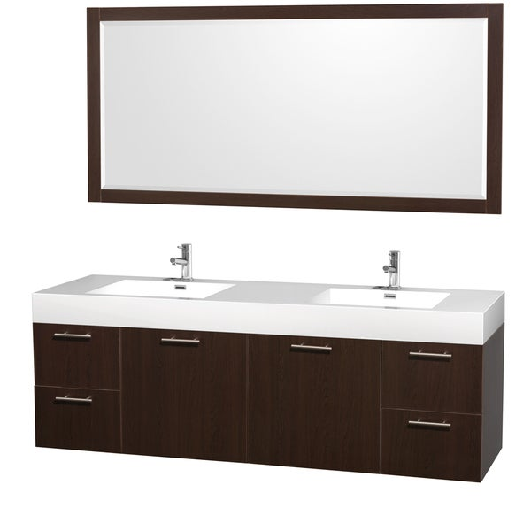 Wyndham Collection Amare Acrylic-Resin Top72-inch Double Bathroom Vanity Acrylic-Resin Top, Integrat 14071787