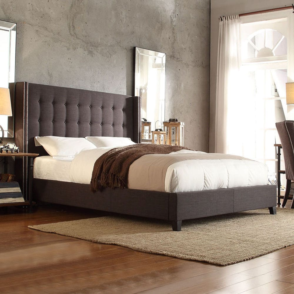 Inspire Q Marion Dark Grey Linen Nailhead Wingback Tufted Upholstered Bed at Sears.com